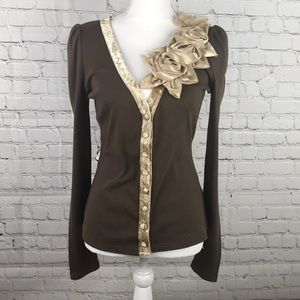 A'reve Cardigan Shirt Brown Flower Detail Size L